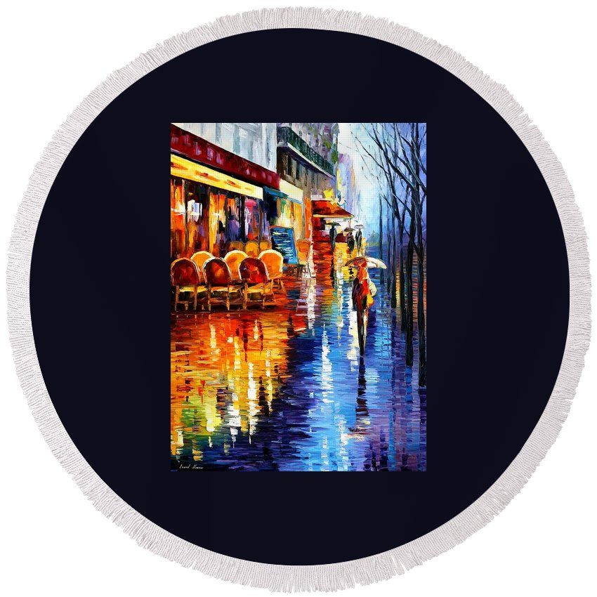 Afremov Round Beach Towel featuring the painting Cafe In Paris by Leonid Afremov