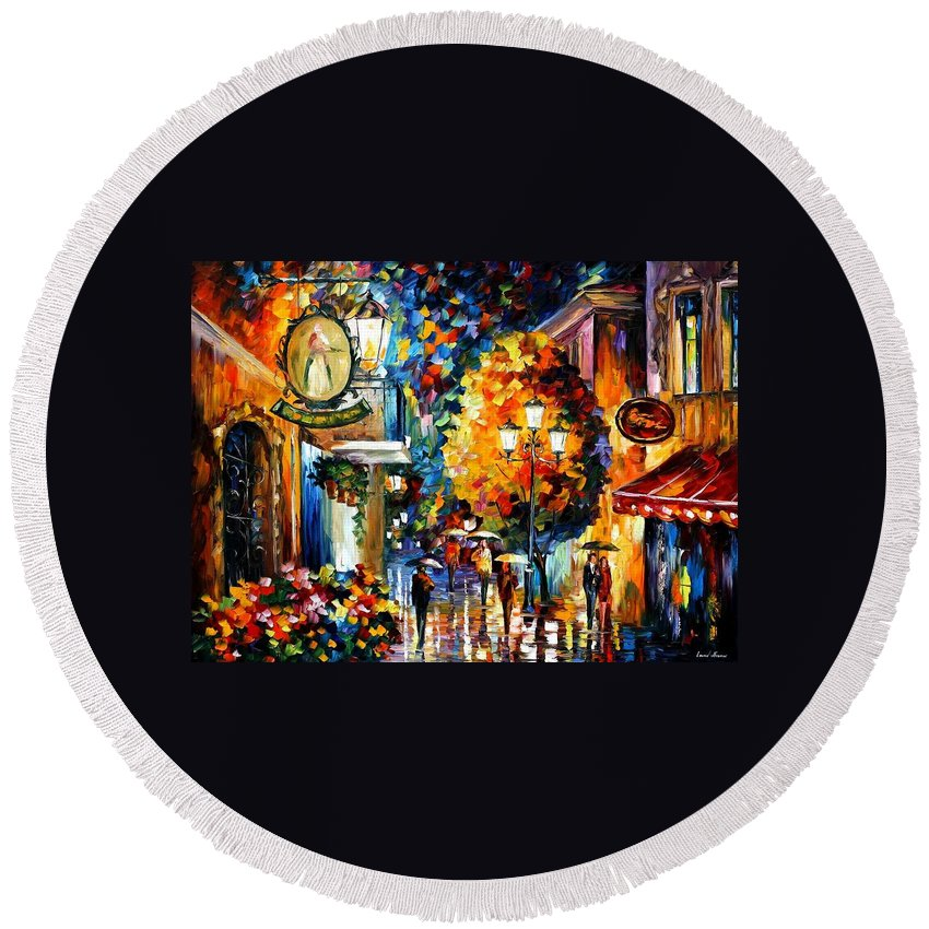 Afremov Round Beach Towel featuring the painting Cafe In The Old City by Leonid Afremov