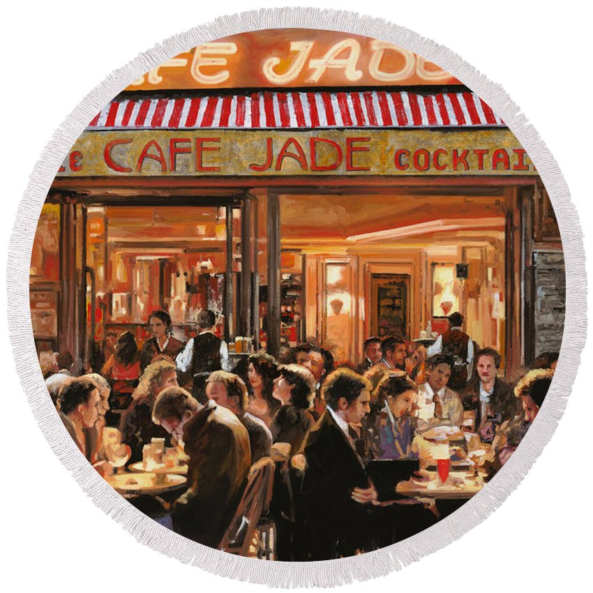 Brasserie Round Beach Towel featuring the painting Cafe Jade by Guido Borelli