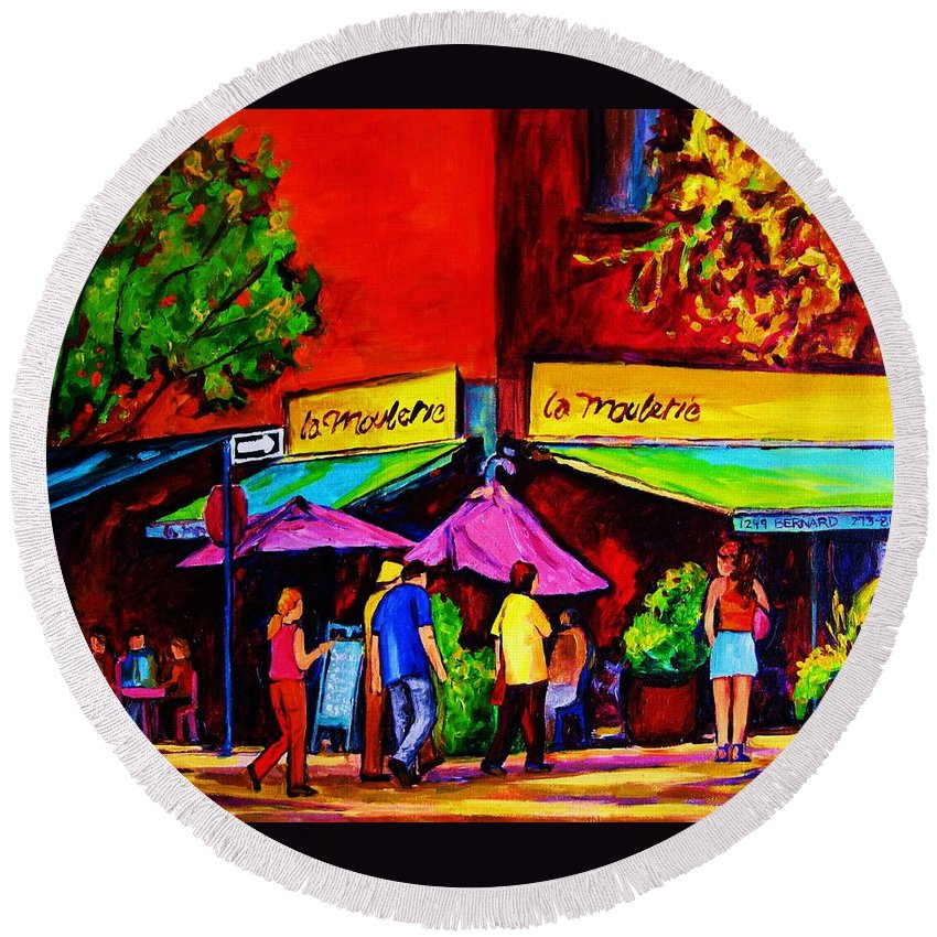 Cafe Scenes Round Beach Towel featuring the painting Cafe La Moulerie On Bernard by Carole Spandau