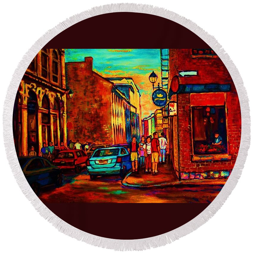 Vieux Port Round Beach Towel featuring the painting Cafe Le Vieux Port by Carole Spandau
