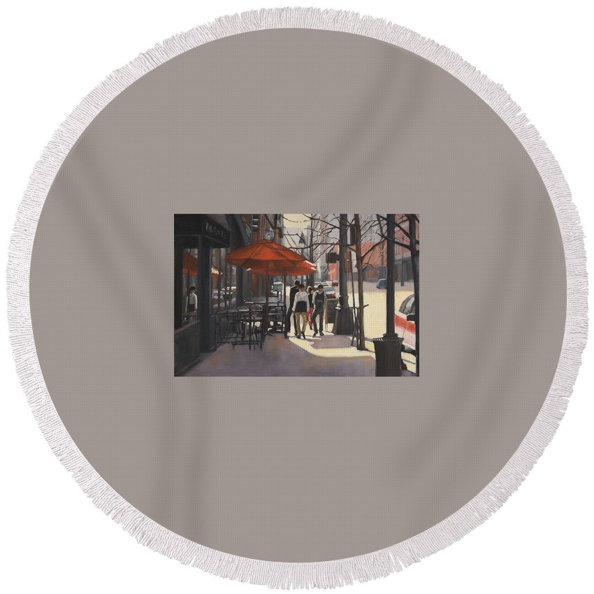 Denver Round Beach Towel featuring the painting Cafe Lodo by Tate Hamilton
