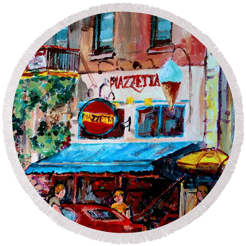 Cafes On St Denis Paris Cafes Round Beach Towel featuring the painting Cafe Piazzetta St Denis by Carole Spandau