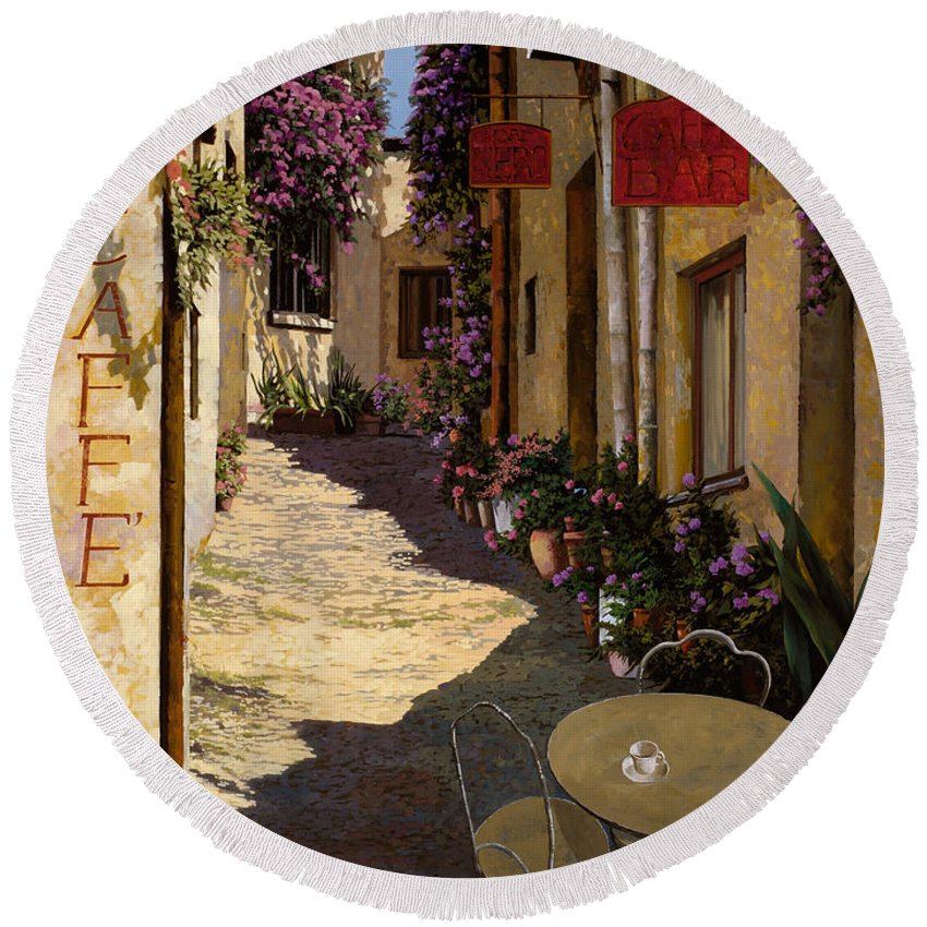 Caffe Round Beach Towel featuring the painting Cafe Piccolo by Guido Borelli