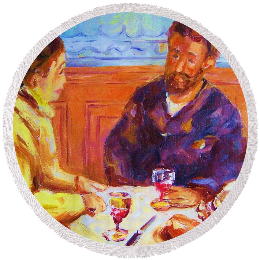 Cafes Round Beach Towel featuring the painting Cafe Renoir by Carole Spandau