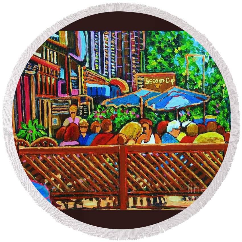 Cafes Round Beach Towel featuring the painting Cafe Second Cup by Carole Spandau