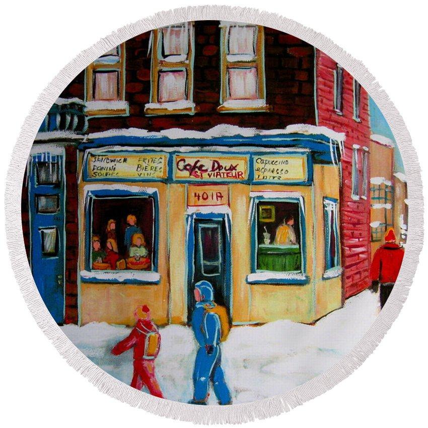 Cafe St. Viateur Montreal Round Beach Towel featuring the painting Cafe St. Viateur Montreal by Carole Spandau