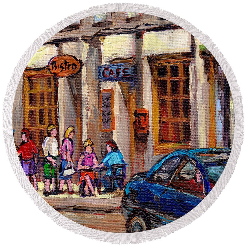 Montreal Round Beach Towel featuring the painting Outdoor Cafe Painting Vieux Montreal City Scenes Best Original Old Montreal Quebec Art by Carole Spandau