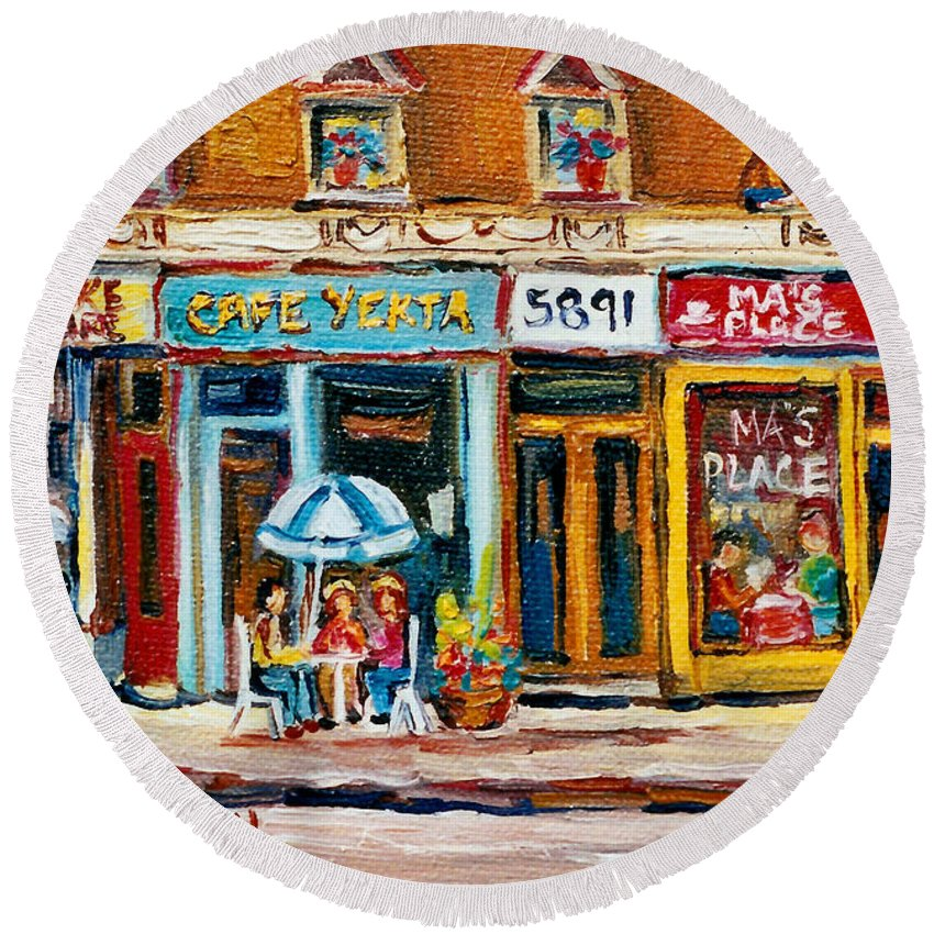 Cafes Round Beach Towel featuring the painting Cafe Yenta And Ma's Place by Carole Spandau