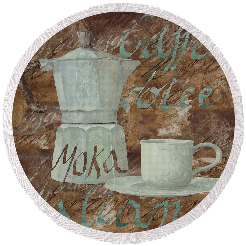 Caffe Round Beach Towel featuring the painting Caffe Espresso by Guido Borelli