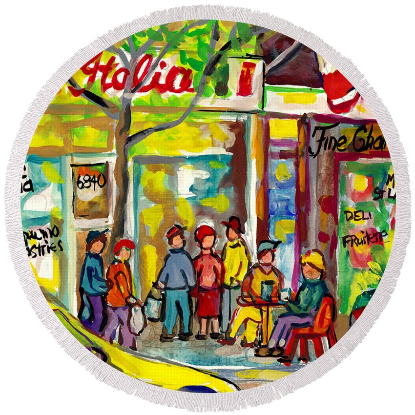Montreal Round Beach Towel featuring the painting Caffe Italia And Milano Charcuterie Montreal Watercolor Streetscenes Little Italy Paintings Cspandau by Carole Spandau