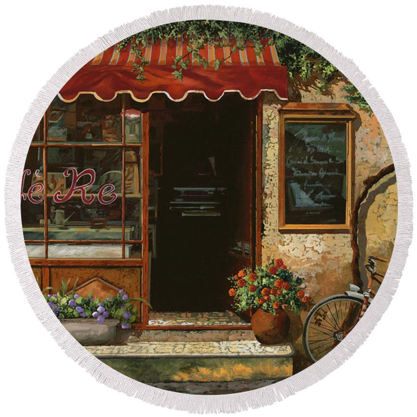 Caffe' Round Beach Towel featuring the painting caffe Re by Guido Borelli