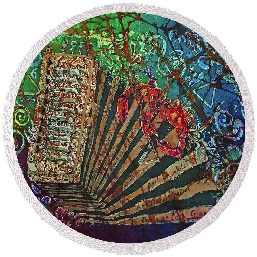 Cajun Round Beach Towel featuring the painting Cajun Accordian by Sue Duda