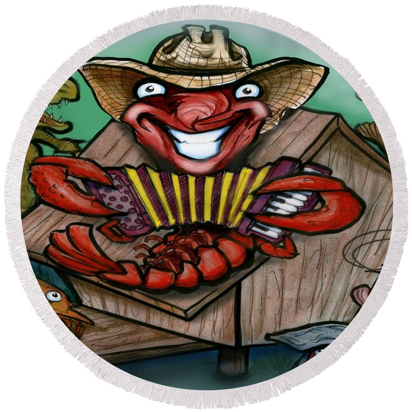Cajun Round Beach Towel featuring the greeting card Cajun Critters by Kevin Middleton