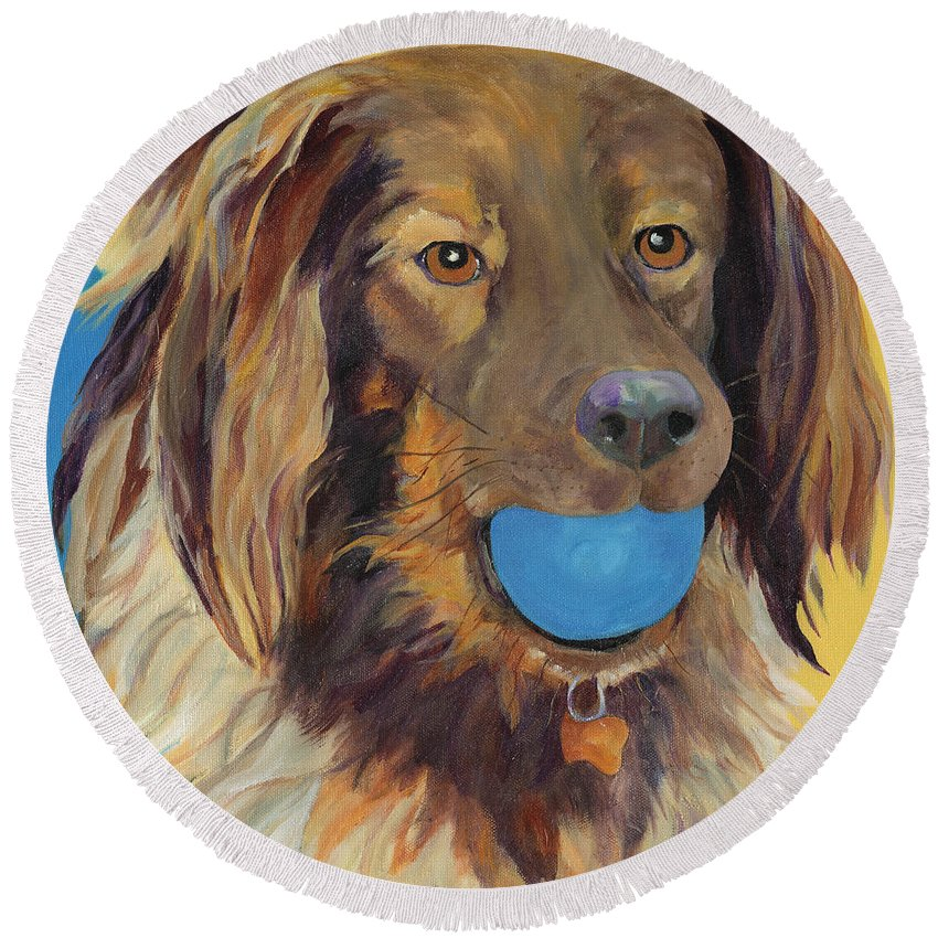 Dog Art Round Beach Towel featuring the painting Caleigh by Pat Saunders-White