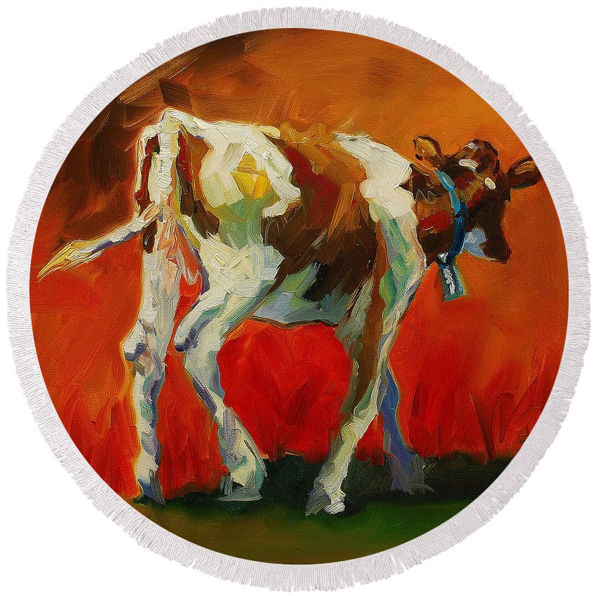 Painting Round Beach Towel featuring the painting Calf Baby by Diane Whitehead