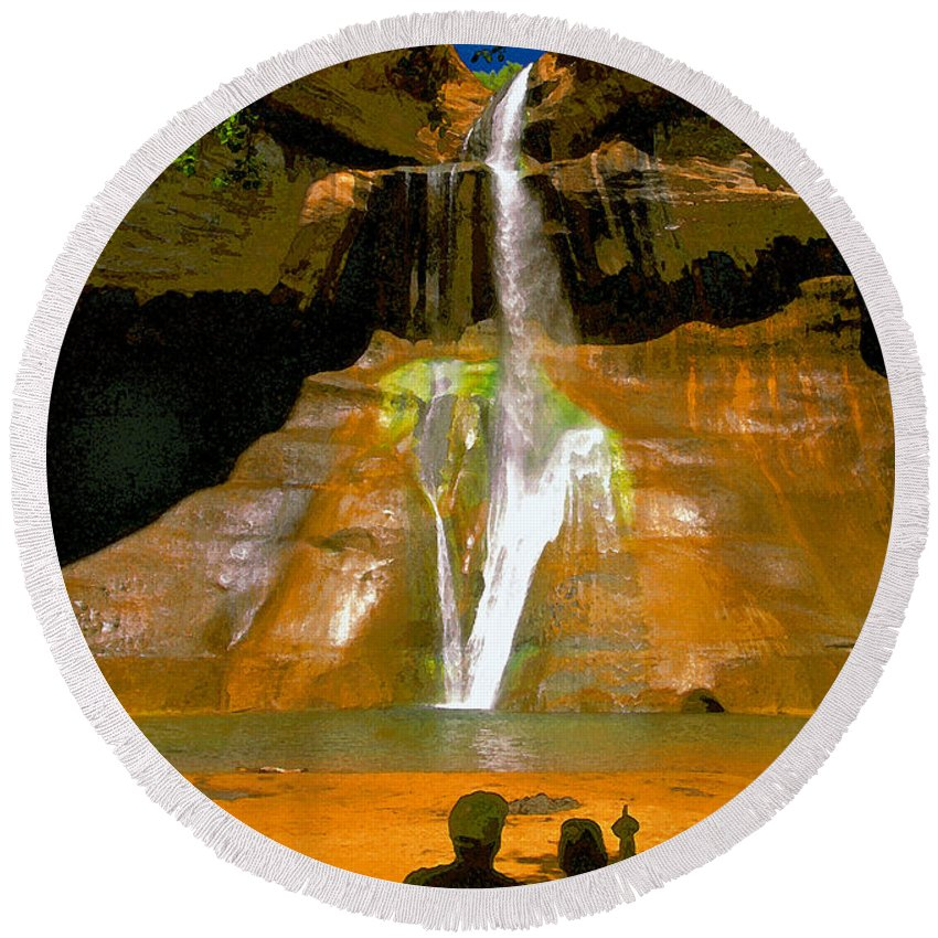 Calf Creek Falls Utah Round Beach Towel featuring the painting Calf Creek Falls Utah by David Lee Thompson