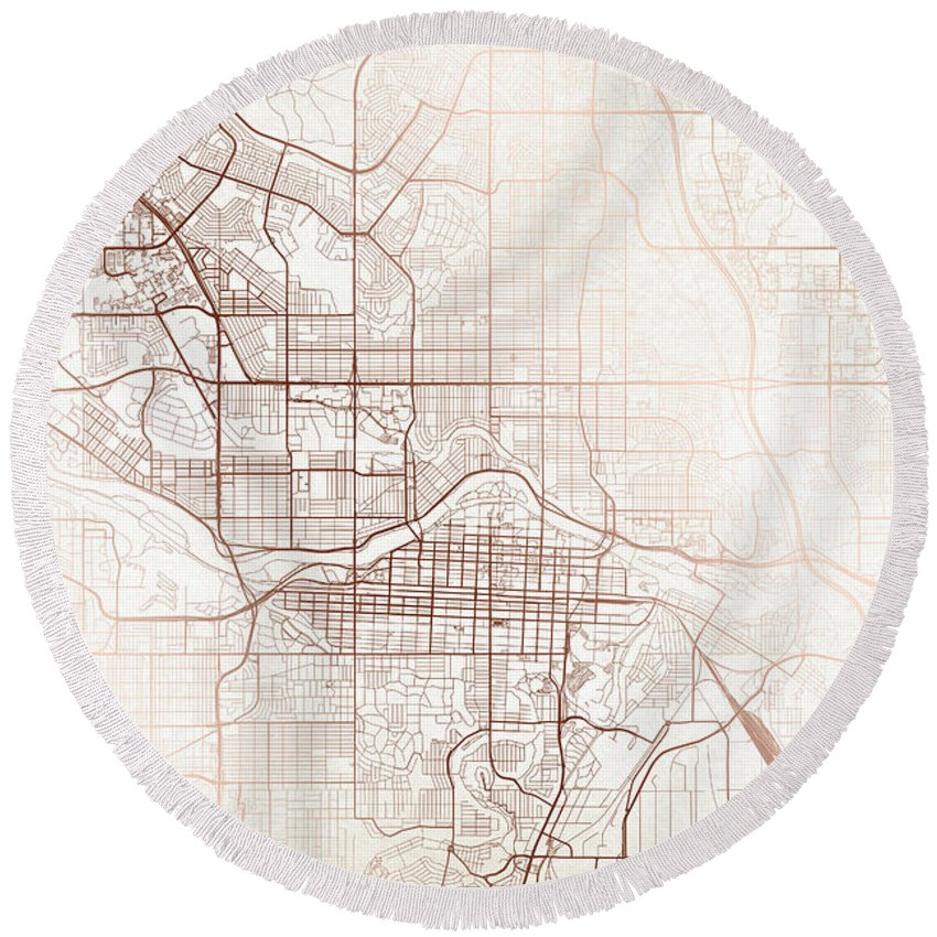 Map Round Beach Towel featuring the digital art Calgary Street Map Colorful Copper Modern Minimalist by Jurq Studio