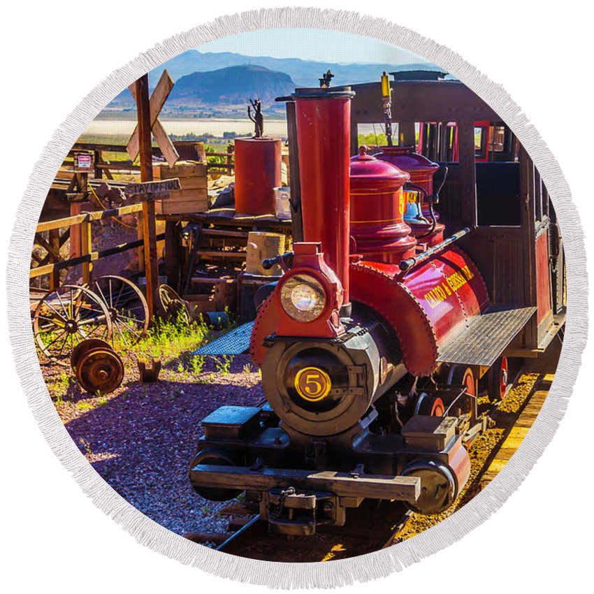 Calico Round Beach Towel featuring the photograph Calico Ghost Town Train by Garry Gay