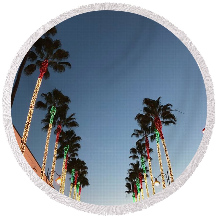California Round Beach Towel featuring the photograph California Christmas #1 by YourRadioFriend