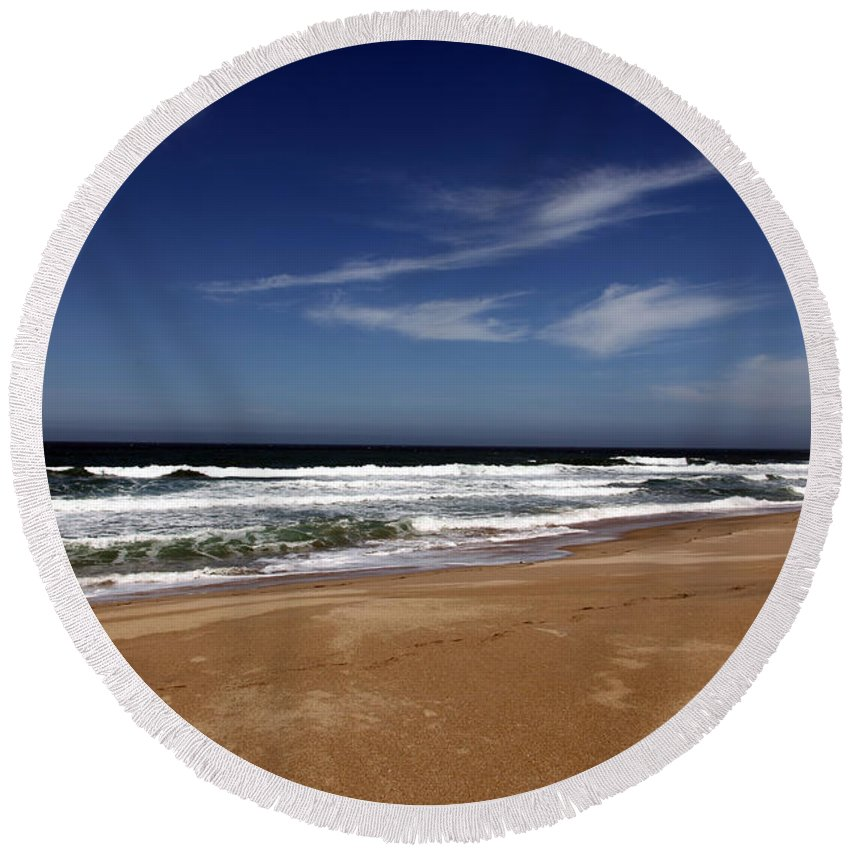 scott Creek Beach Round Beach Towel featuring the photograph California Coast by Amanda Barcon
