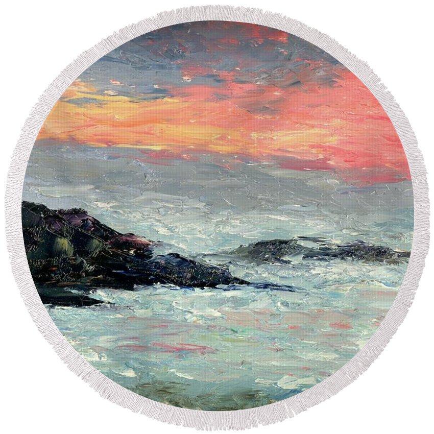 Seascape Round Beach Towel featuring the painting California Coast by Gail Kirtz