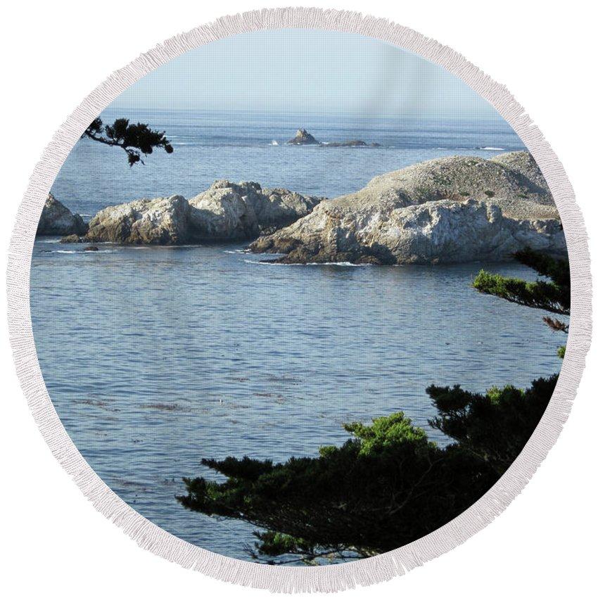 Rocky Coastline Round Beach Towel featuring the photograph California Coast Vii by Dottie Kinn