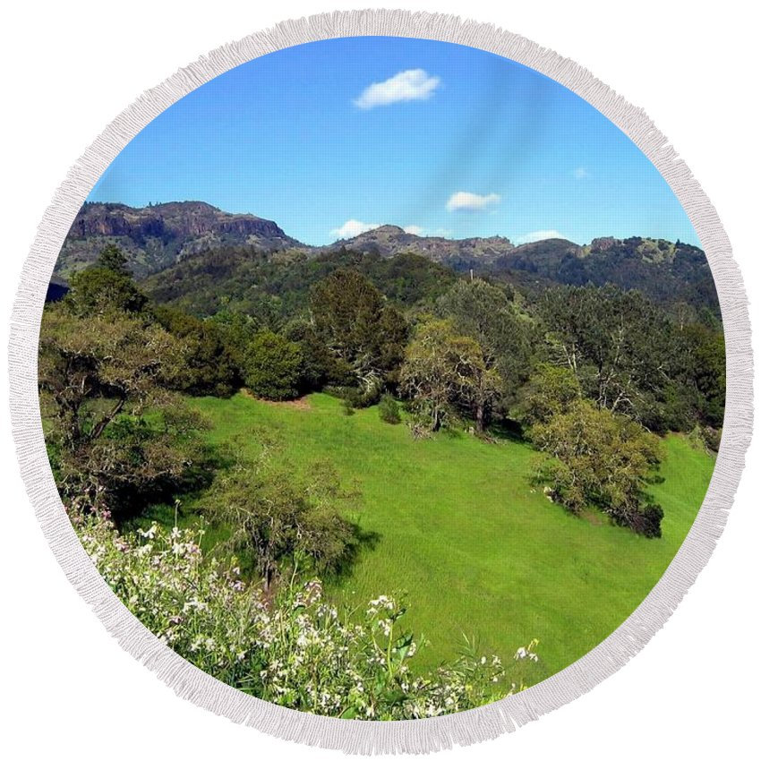 California Round Beach Towel featuring the photograph California Highlands by Will Borden