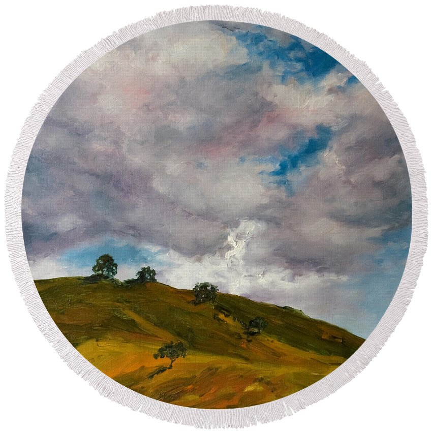 Sky Round Beach Towel featuring the painting California Hills by Rick Nederlof