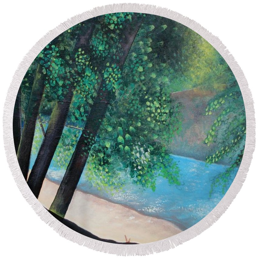 Landscape Round Beach Towel featuring the painting California Magic by Helena Tiainen