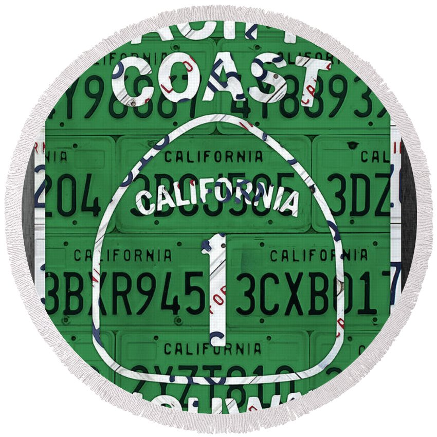 California Round Beach Towel featuring the mixed media California Route 1 Pacific Coast Highway Sign Recycled Vintage License Plate Art by Design Turnpike