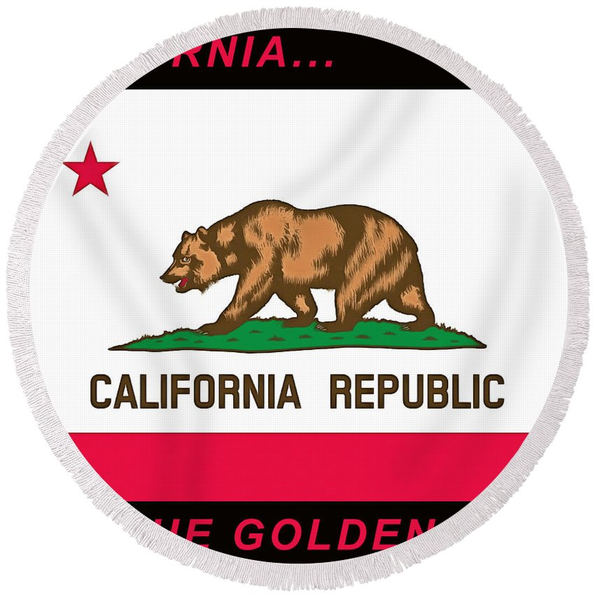 Floyd Snyder Round Beach Towel featuring the painting California State Flag by Floyd Snyder