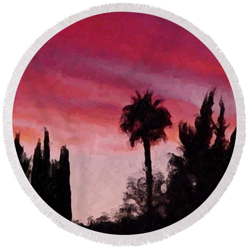 California Round Beach Towel featuring the painting California Sunset Painting 1 by Teresa Mucha