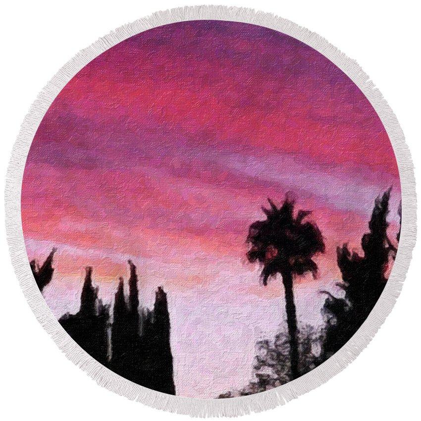 California Round Beach Towel featuring the painting California Sunset Painting 2 by Teresa Mucha