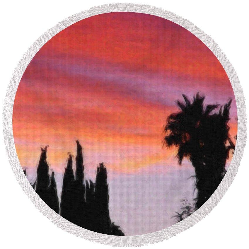 California Round Beach Towel featuring the painting California Sunset Painting 3 by Teresa Mucha