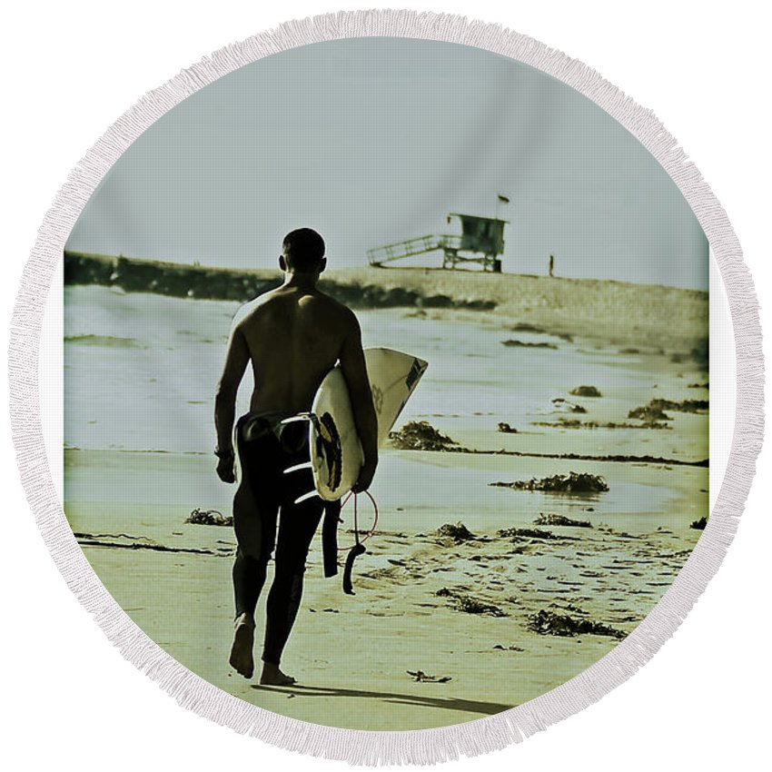Surfer Round Beach Towel featuring the photograph California Surfer by Scott Pellegrin