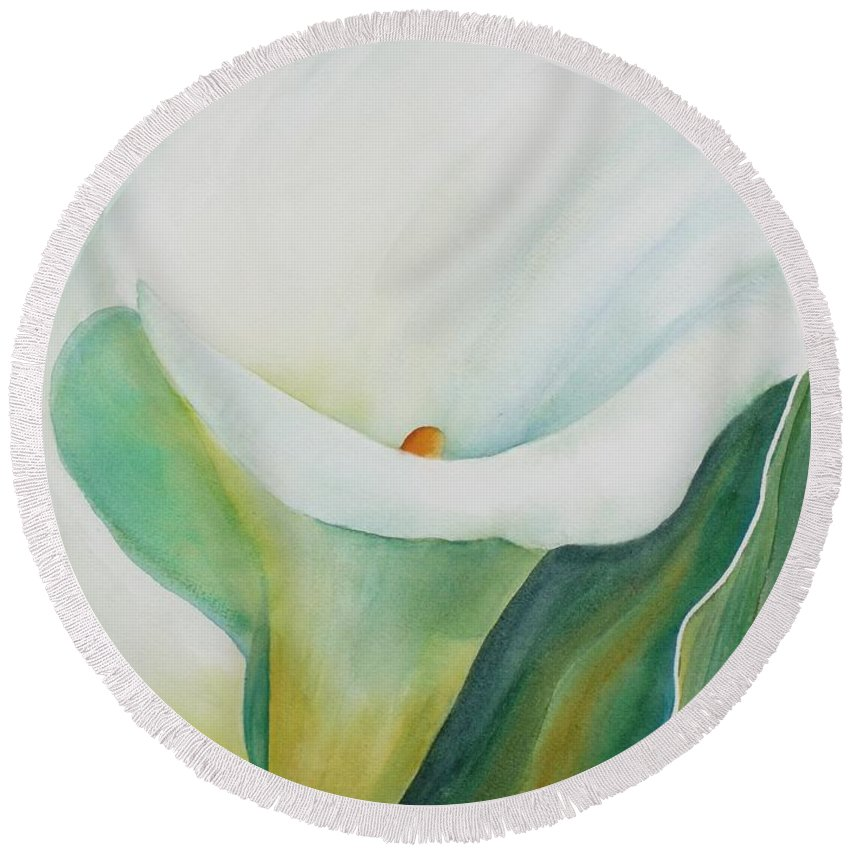 Flower Round Beach Towel featuring the painting Calla Lily by Ruth Kamenev