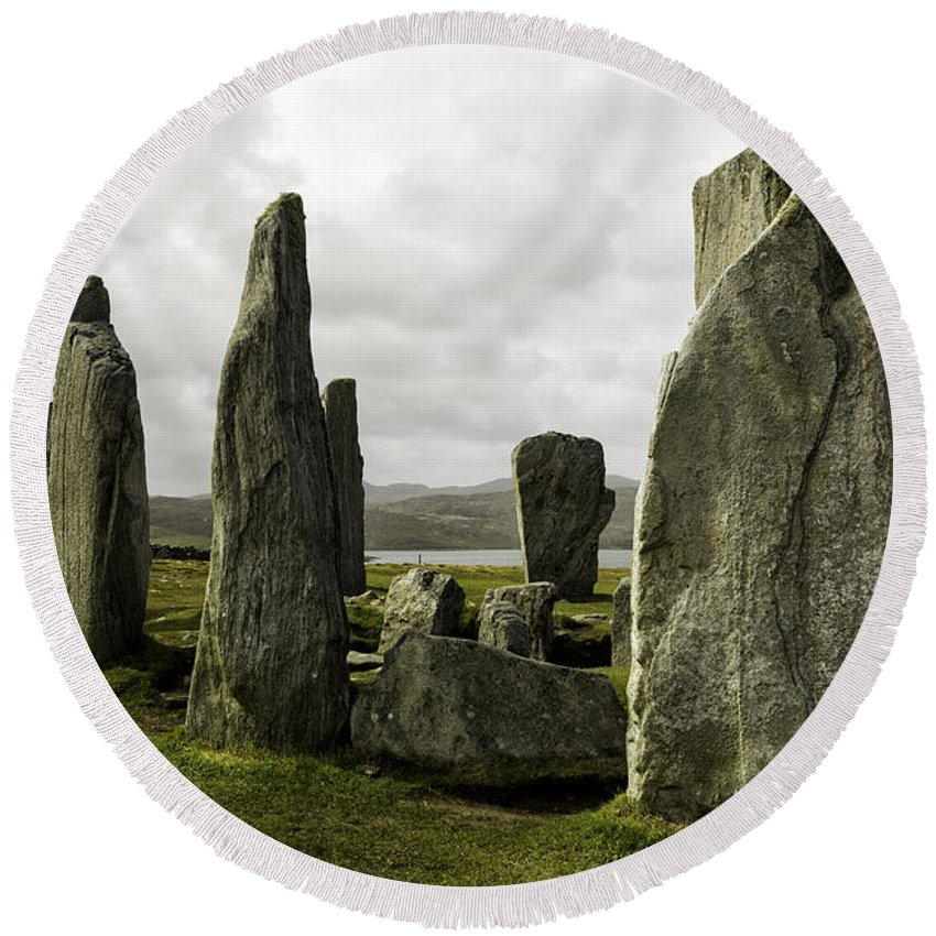 Callanish Round Beach Towel featuring the photograph Callanish Stones by Fran Gallogly