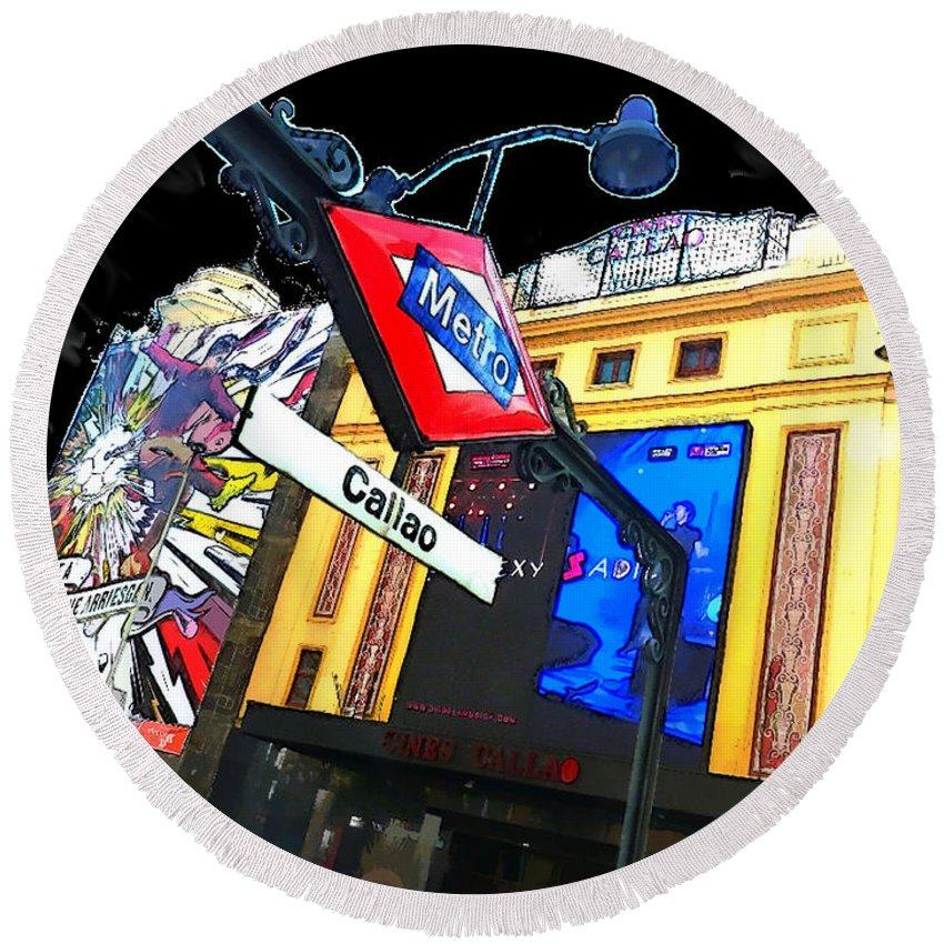 Callao Round Beach Towel featuring the digital art Callao Metro Entrance At Night Madrid by Alan Armstrong