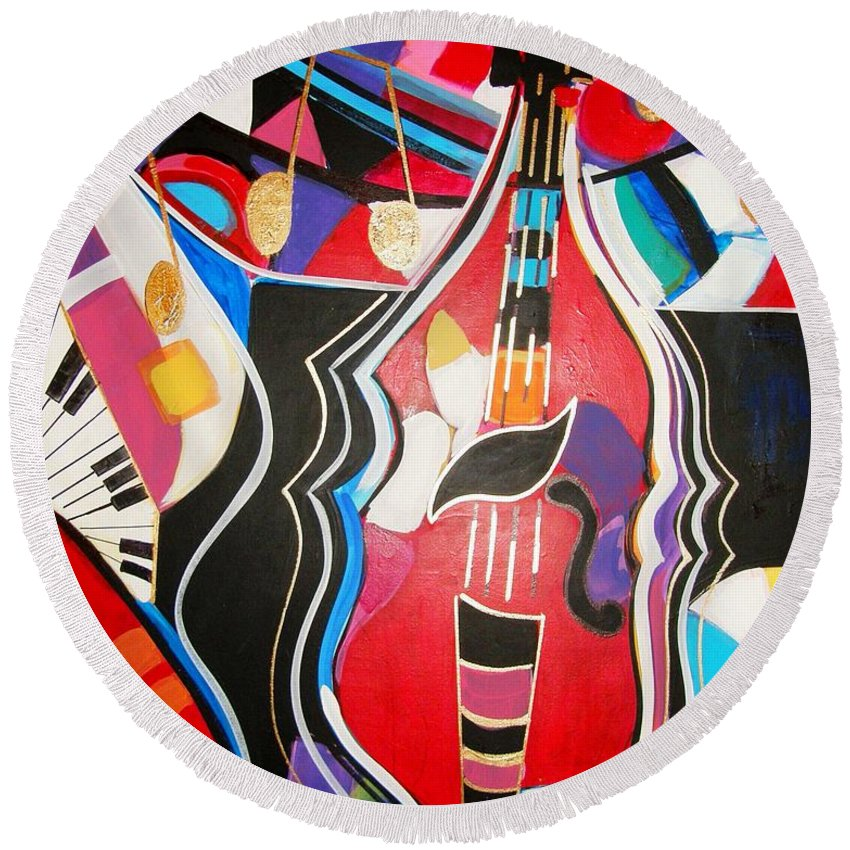 Music Round Beach Towel featuring the painting Calling Me Home by Gina Hulse