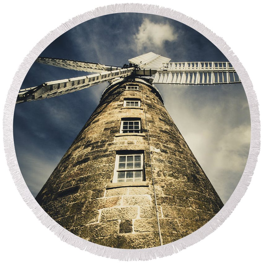 Callington Mill Round Beach Towel featuring the photograph Callington Mill In Oatlands Tasmania by Jorgo Photography - Wall Art Gallery