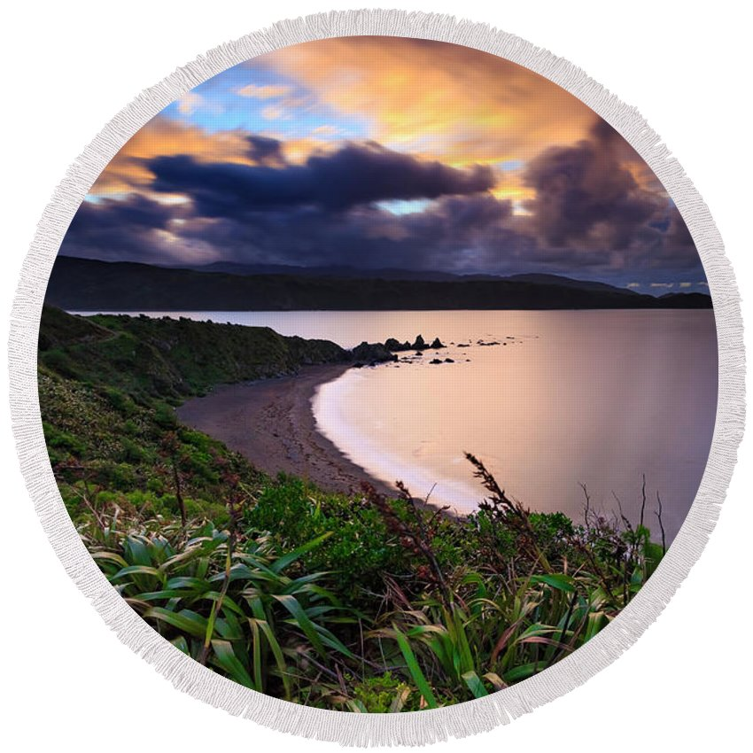 Sea Round Beach Towel featuring the photograph Calm Before The Storm by Martin Bosch