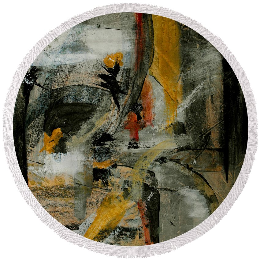 Abstract Round Beach Towel featuring the painting Calm Out Of Chaos by Ruth Palmer