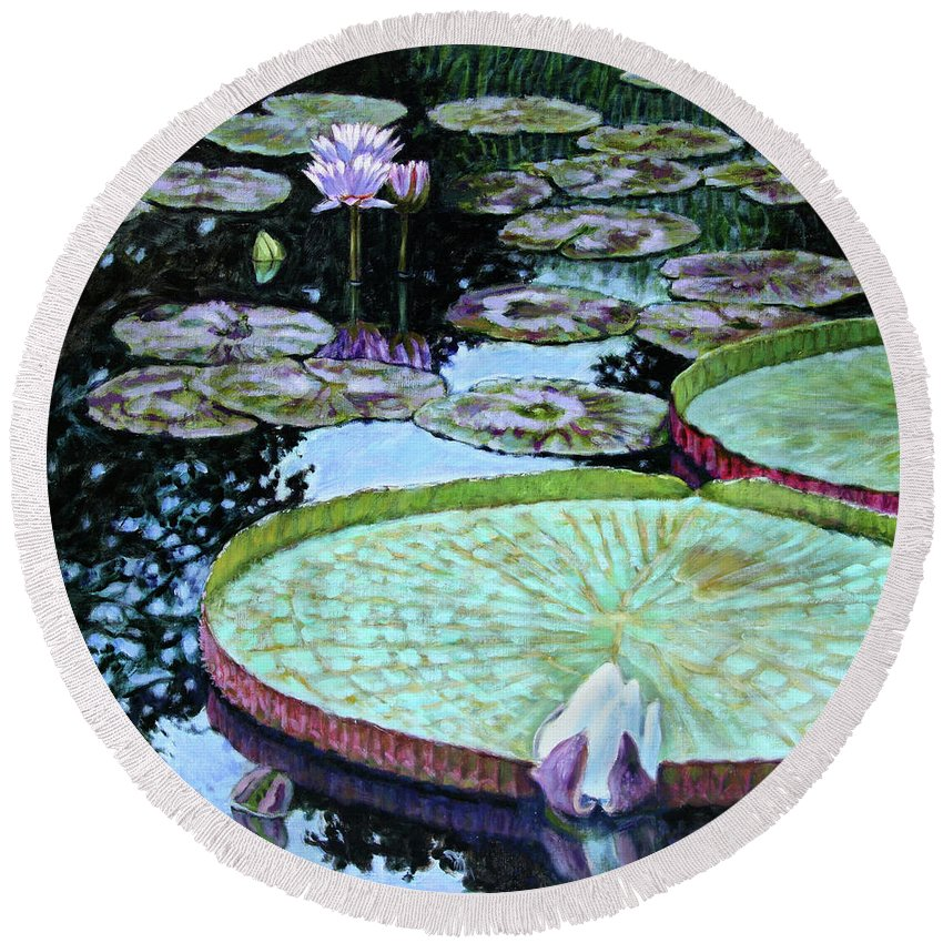 Water Lilies Round Beach Towel featuring the painting Calm Reflections by John Lautermilch