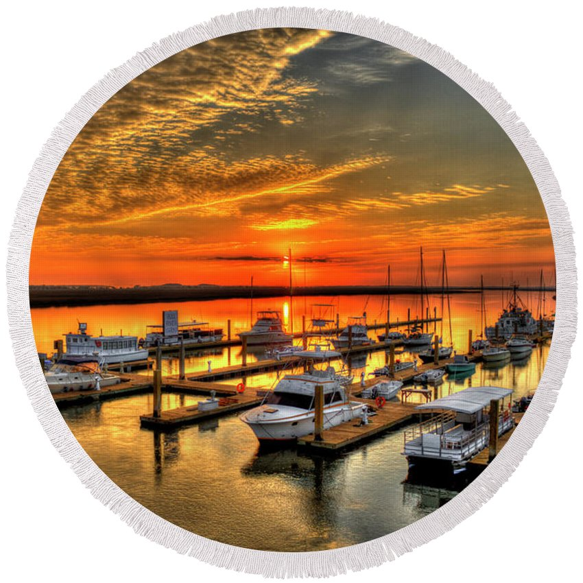Reid Callaway Calm Waters Round Beach Towel featuring the photograph Calm Waters Bull River Marina Tybee Island Savannah Georgia Art by Reid Callaway