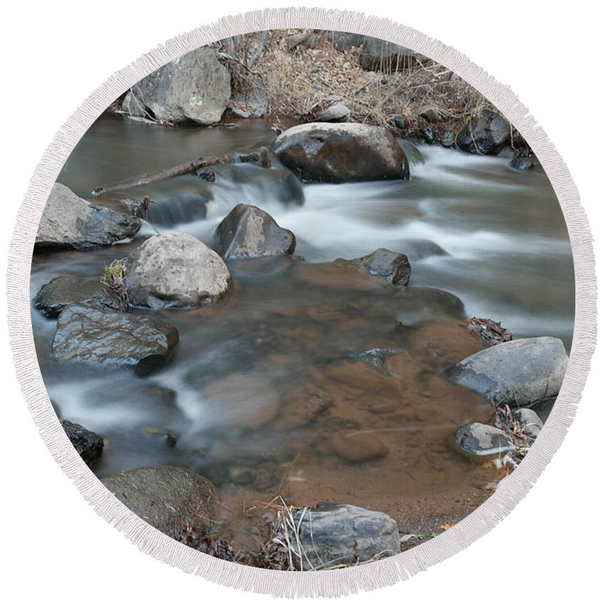 Rivers Round Beach Towel featuring the photograph Calming Runnels by Jeff Swan