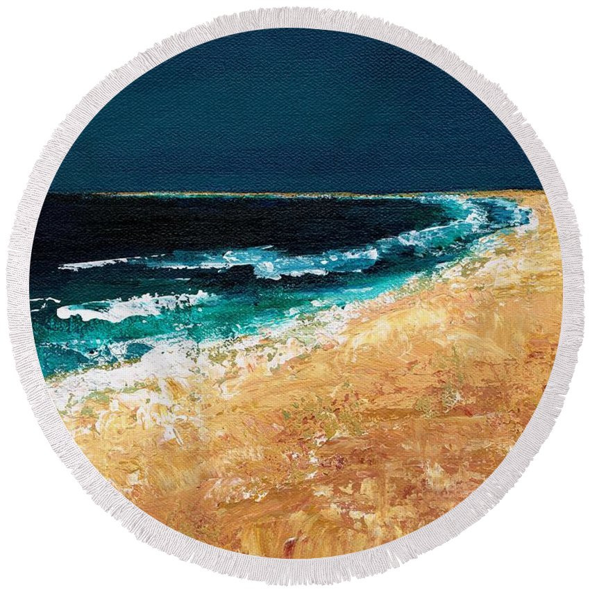 Ocean Tide Round Beach Towel featuring the painting Calming Waters by Frances Marino