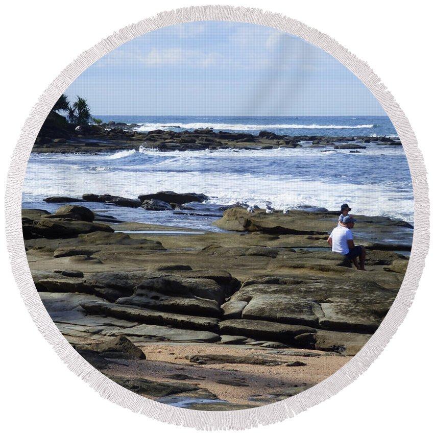 Caloundra Round Beach Towel featuring the photograph Caloundra Coast. #1 by Trudee Hunter