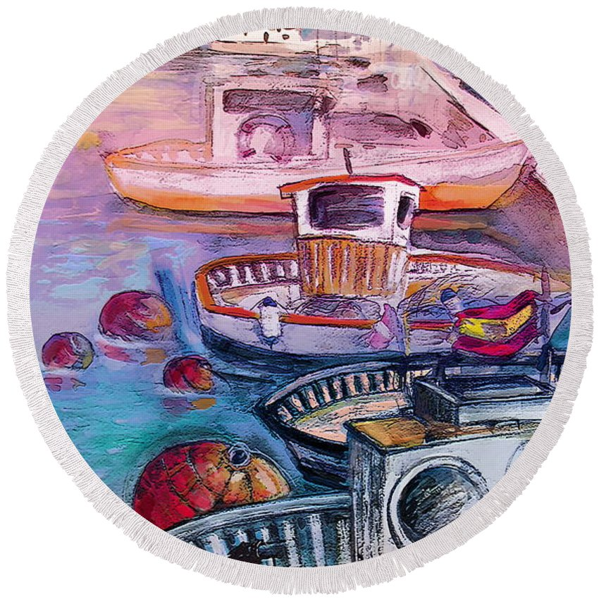 Calpe Round Beach Towel featuring the painting Calpe Harbour 03 by Miki De Goodaboom