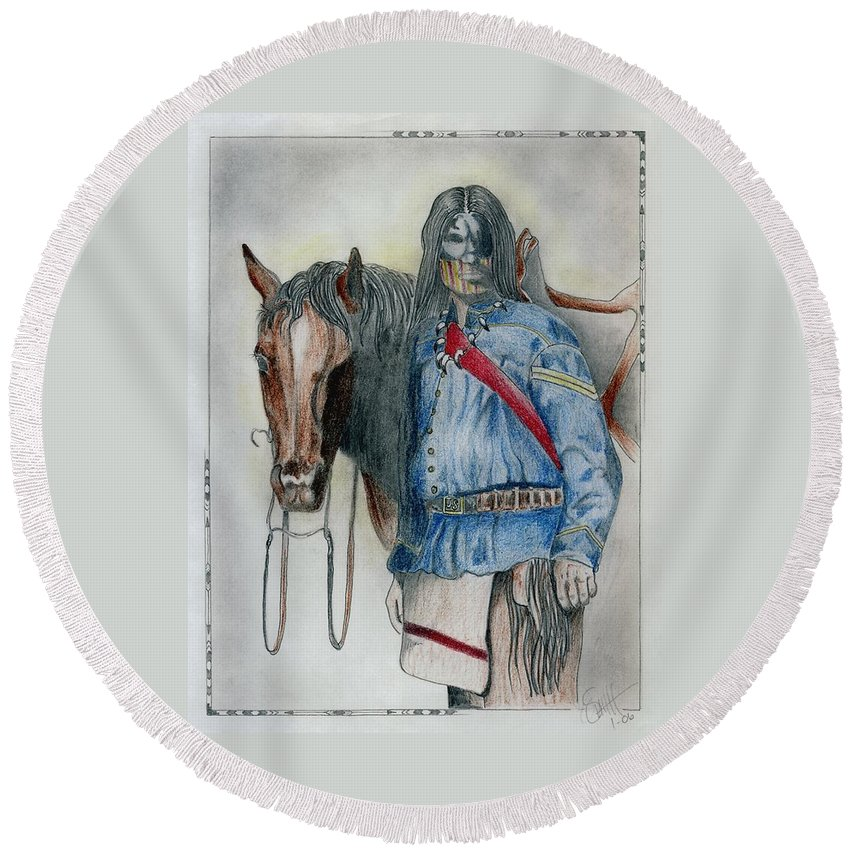 American Round Beach Towel featuring the drawing Calvary Scout by Jimmy Smith